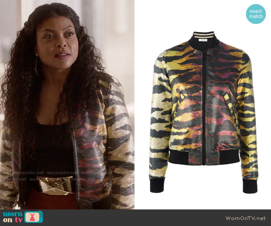 Faith Connexion Metallic Reversible Bomber Jacket worn by Taraji P. Henson on Empire