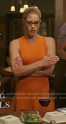 Felicity's orange ribbed dress on Arrow
