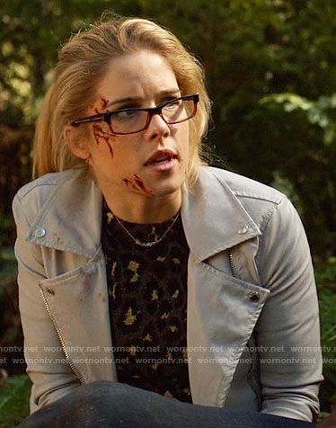 Felicity's leopard print sweater and moto jacket on Arrow