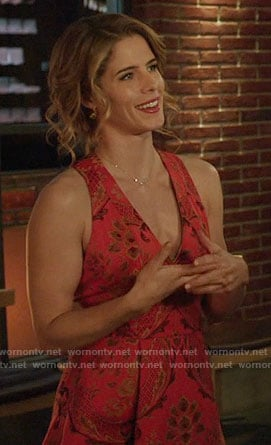 Felicity's orange embroidered v-neck dress on Arrow