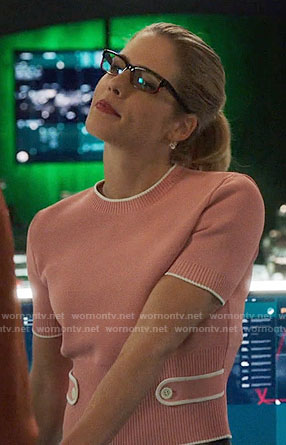 Felicity's pink buttoned back sweater on Arrow