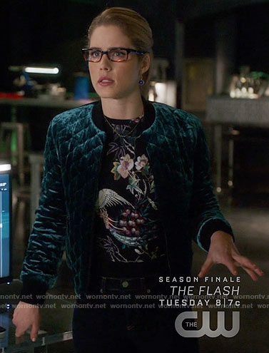 Felicity's quilted velvet bomber jacket and floral top on Arrow