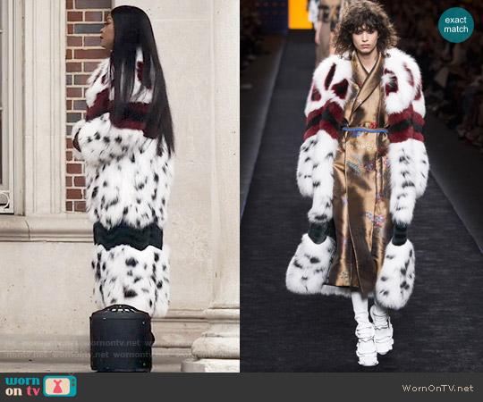 Fendi Fall 2016 White Fur Coat worn by Taraji P. Henson on Empire