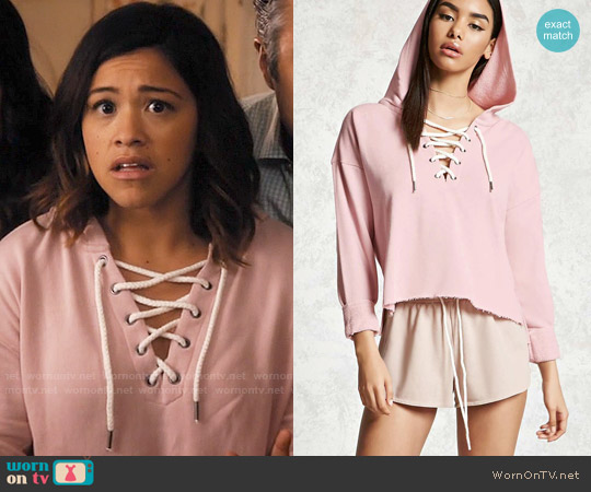 Forever 21 Lace-Up Cropped Hoodie worn by Gina Rodriguez on Jane the Virgin