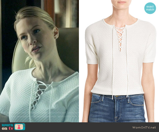 Frame Lace Up Cotton-Blend Top worn by January Jones on Last Man On Earth