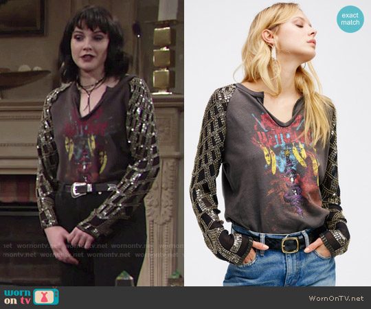 Free People Taking Sides Sequin Tee worn by Cait Fairbanks on The Young & the Restless