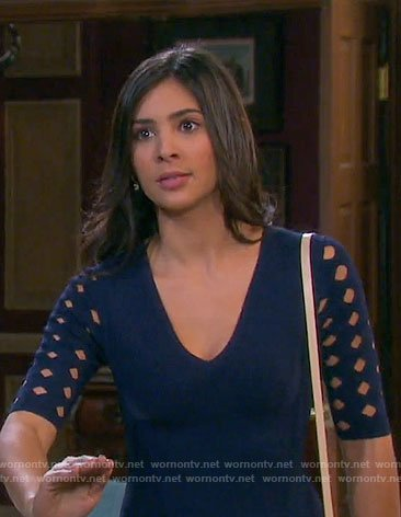 Gabi's navy dress with diamond cutouts on Days of our Lives