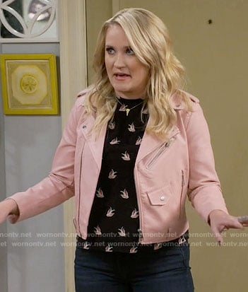 Gabi's black bird print top and pink leather jacket on Young and Hungry