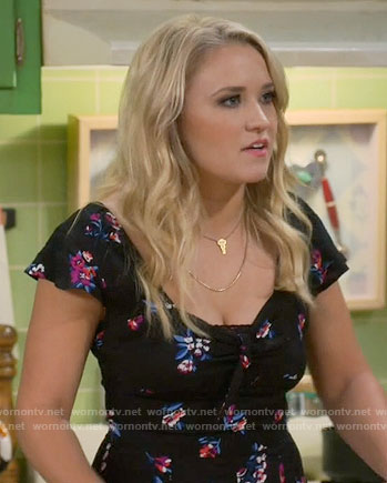 Gabi's black floral romper on Young and Hungry