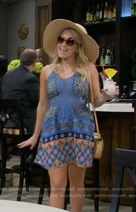Gabi's blue and orange printed sundress on Young and Hungry