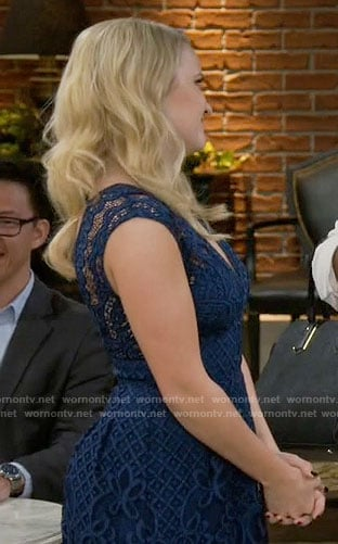 Gabi's blue lace v-neck dress on Young and Hungry