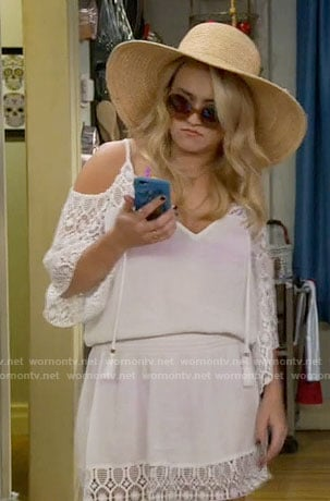 Gabi's white cold-shoulder swimsuit cover-up on Young and Hungry