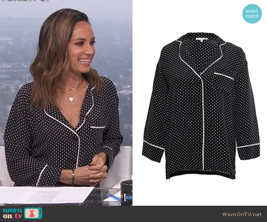 Gold Hawk Polka Dot Pajama Shirt worn by Catt Sadler on E! News