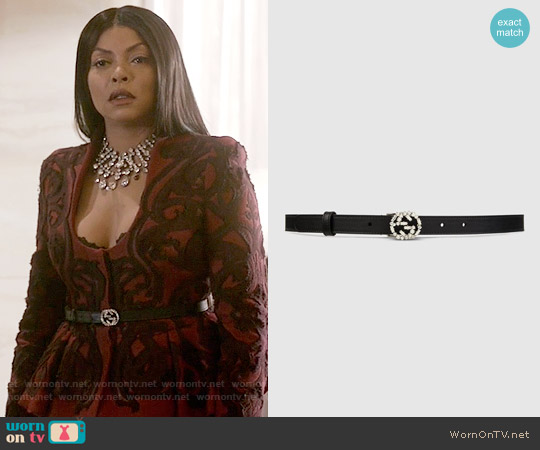 Gucci Thin leather belt with crystal GG worn by Cookie Lyon on Empire