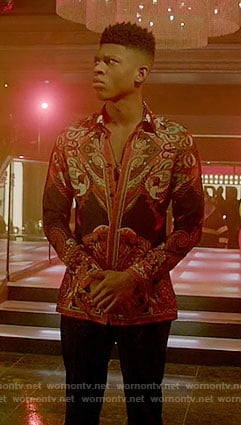 Hakeem's red and black printed shirt on Empire