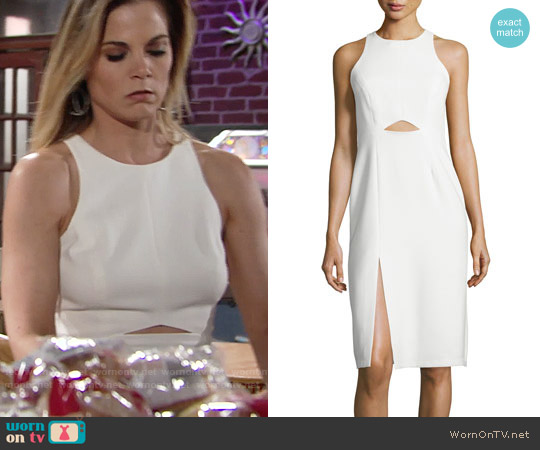 Halston Heritage Sleeveless High-Neck Fitted Cutout Dress worn by Gina Tognoni on The Young & the Restless
