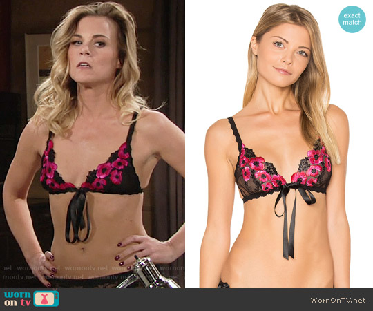 Hanky Panky Embroidery Front Tie Bralette worn by Phyllis Newman (Gina Tognoni) on The Young & the Restless