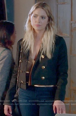 Hanna's black double breasted jacket on Pretty Little Liars