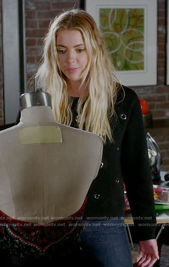 Hanna's black grommet studded sweatshirt on Pretty Little Liars