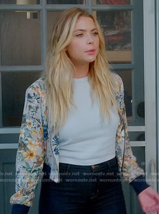 Hanna's grey floral bomber jacket on Pretty Little Liars