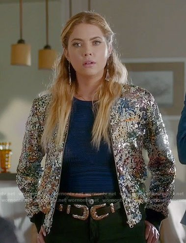 Hanna's sequin bomber jacket on Pretty Little Liars