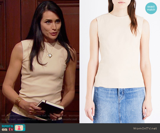 Helmut Lang Round-neck leather top worn by Quinn Fuller (Rena Sofer) on The Bold & the Beautiful