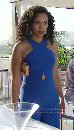 Hilary's blue cross front jumpsuit on The Young and the Restless