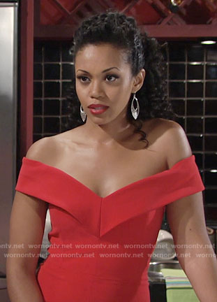 Hilary's red off-shoulder dress on The Young and the Restless