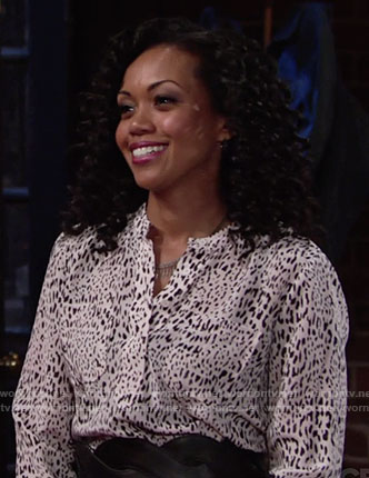 Hilary's white leopard print blouse on The Young and the Restless