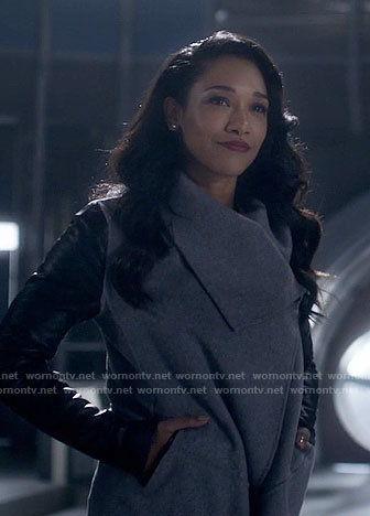 Iris's grey coat with leather sleeves on The Flash