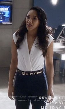 Iris's white v-neck top on The Flash