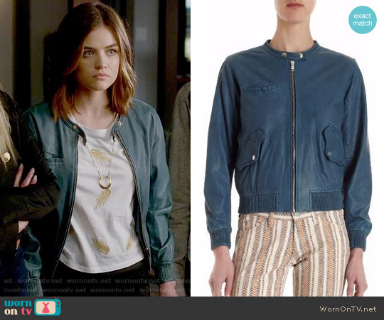 Etoile Isabel Marant Calista Leather Jacket worn by Aria Montgomery on PLL