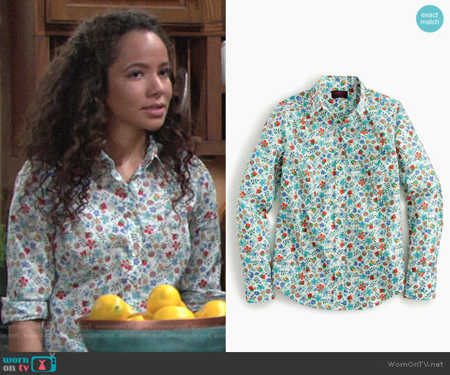 J. Crew Perfect shirt in Liberty® Edenham floral worn by Mattie Ashby (Lexie Stevenson) on The Young & the Restless