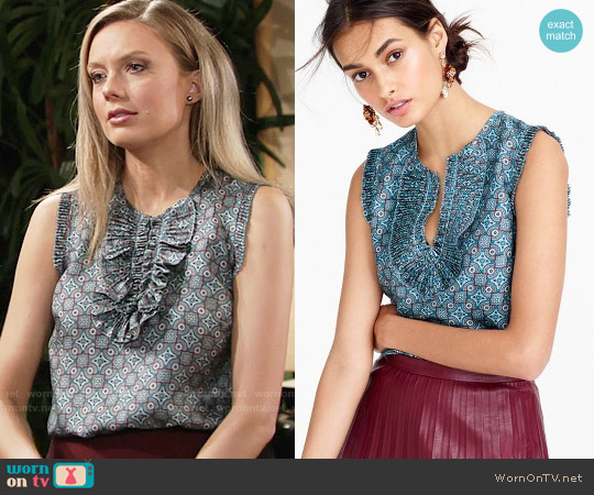J. Crew Margot Top in Silk Foulard worn by Abby Newman (Melissa Ordway) on The Young & the Restless
