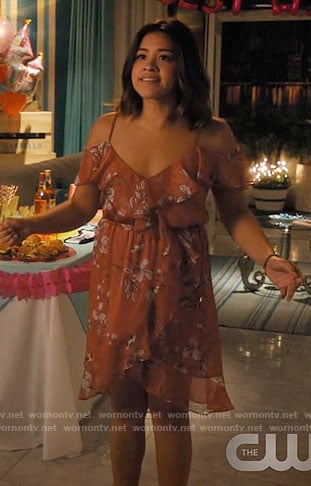 Jane's floral ruffled dress on Jane the Virgin
