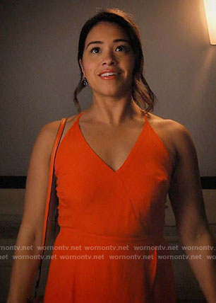Jane's orange mini dress on Jane the Virgin