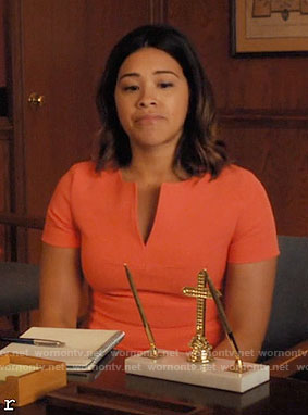 Jane's orange split-neck dress on Jane the Virgin