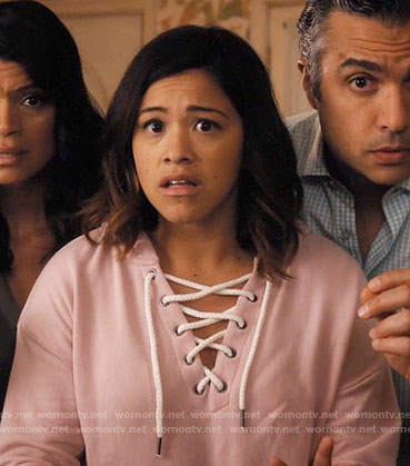 Jane's pink lace-up hoodie on Jane the Virgin