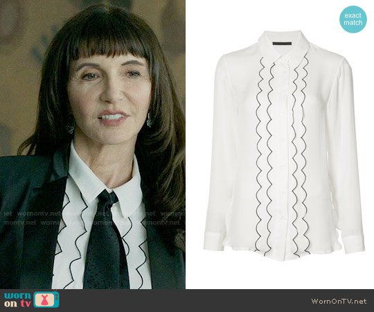 Jenni Kayne Piped Frill Shirt worn by Gail Klostermann (Mary Steenburgen) on Last Man On Earth