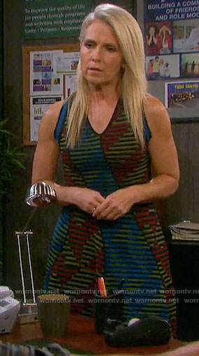 Jennifer's mixed stripe v-neck dress on Days of our Lives