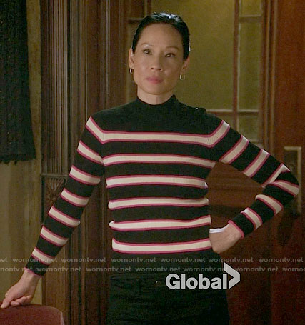 Joan's black and pink striped sweater on Elementary