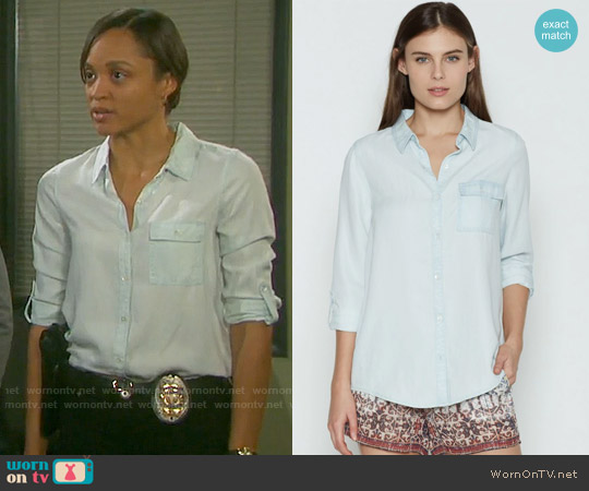 Joie Onyx Chambray Top worn by Sal Stowers on Days of our Lives