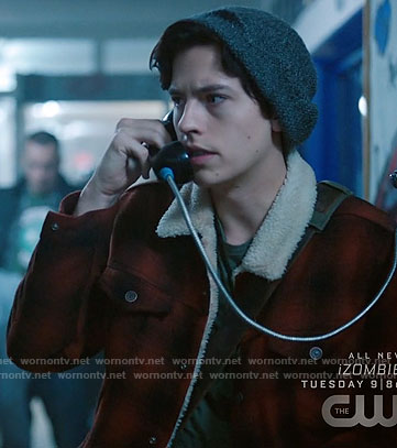 Jughead's red plaid jacket with fleece collar on Riverdale