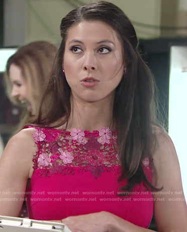 Juliet's pink lace panel dress on The Young and the Restless