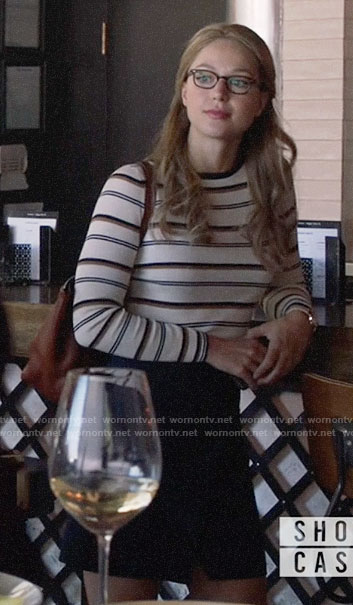 Kara's white striped sweater on Supergirl