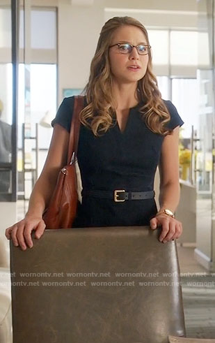 Kara's denim split-neck dress on Supergirl