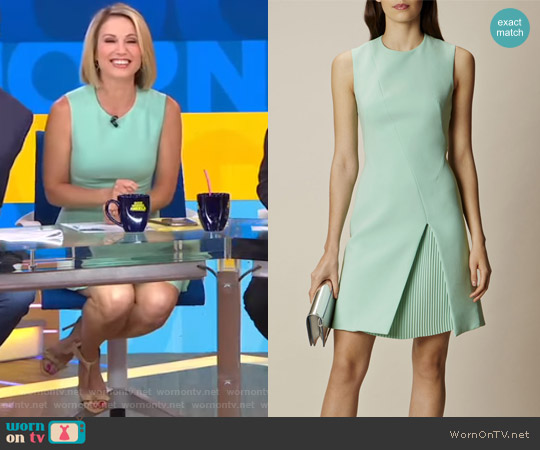 Pastel Green Pleated Mini Dress by Karen Millen worn by Amy Robach on Good Morning America