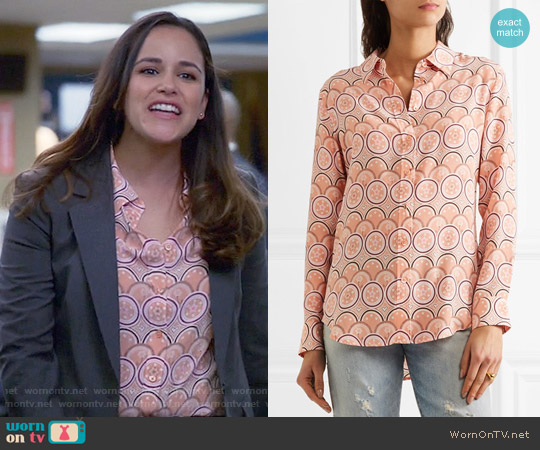 Kate Moss for Equipment Orange Print Silk Shirt worn by Amy Santiago (Melissa Fumero) on Brooklyn Nine-Nine