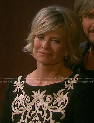Kayla's black dress with white embroidery on Days of our Lives