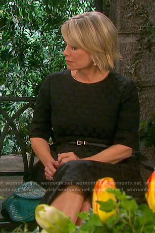 Kayla's black polka dot textured dress on Days of our Lives